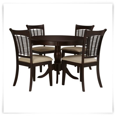 bayberry dark tone round table & 4 chairs