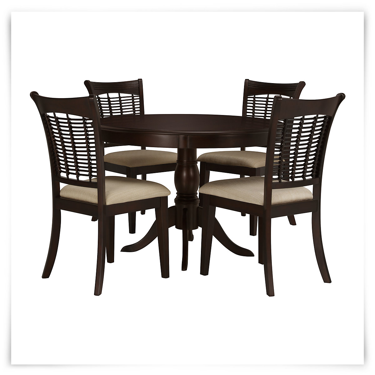bayberry dark tone round table 4 chairs. Black Bedroom Furniture Sets. Home Design Ideas