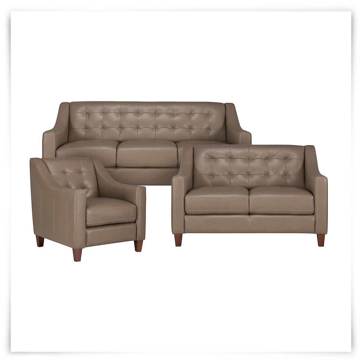 Elise Pewter Leather Living Room