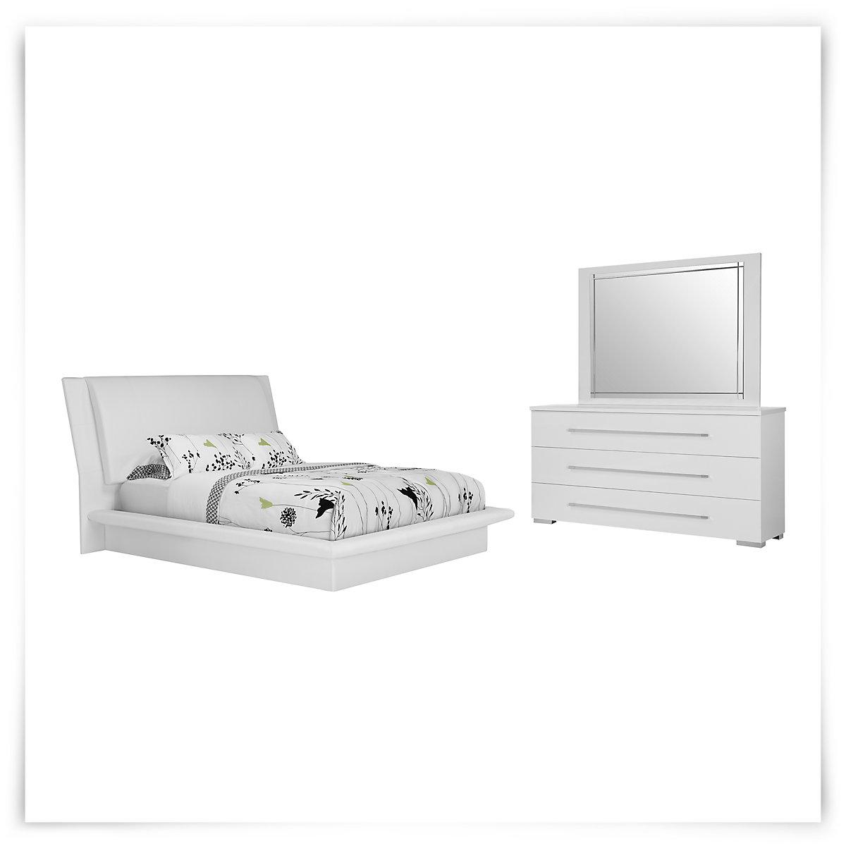 Dimora White Upholstered Platform Bedroom
