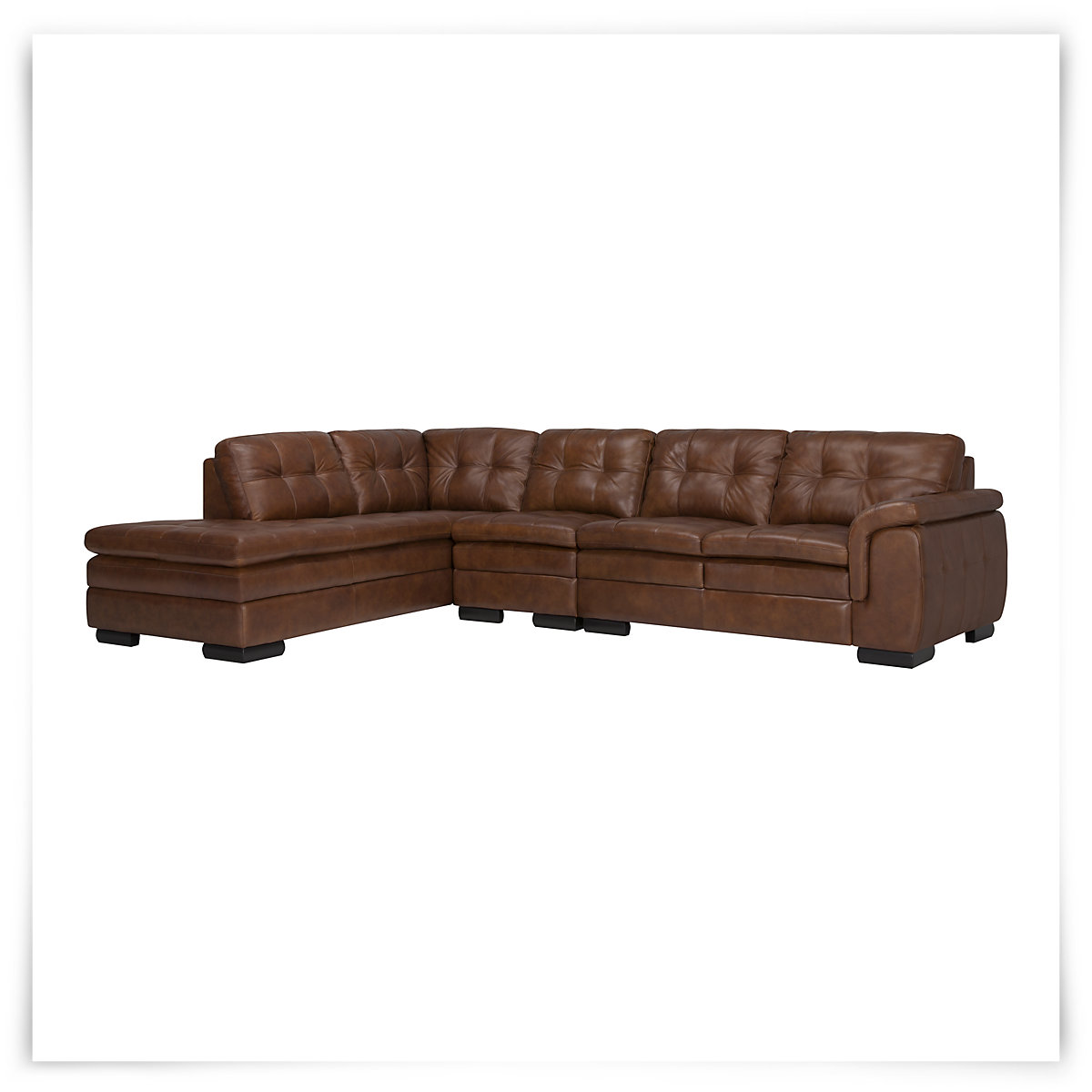 Trevor md brown leather lg left chaise sect for Brown leather chaise