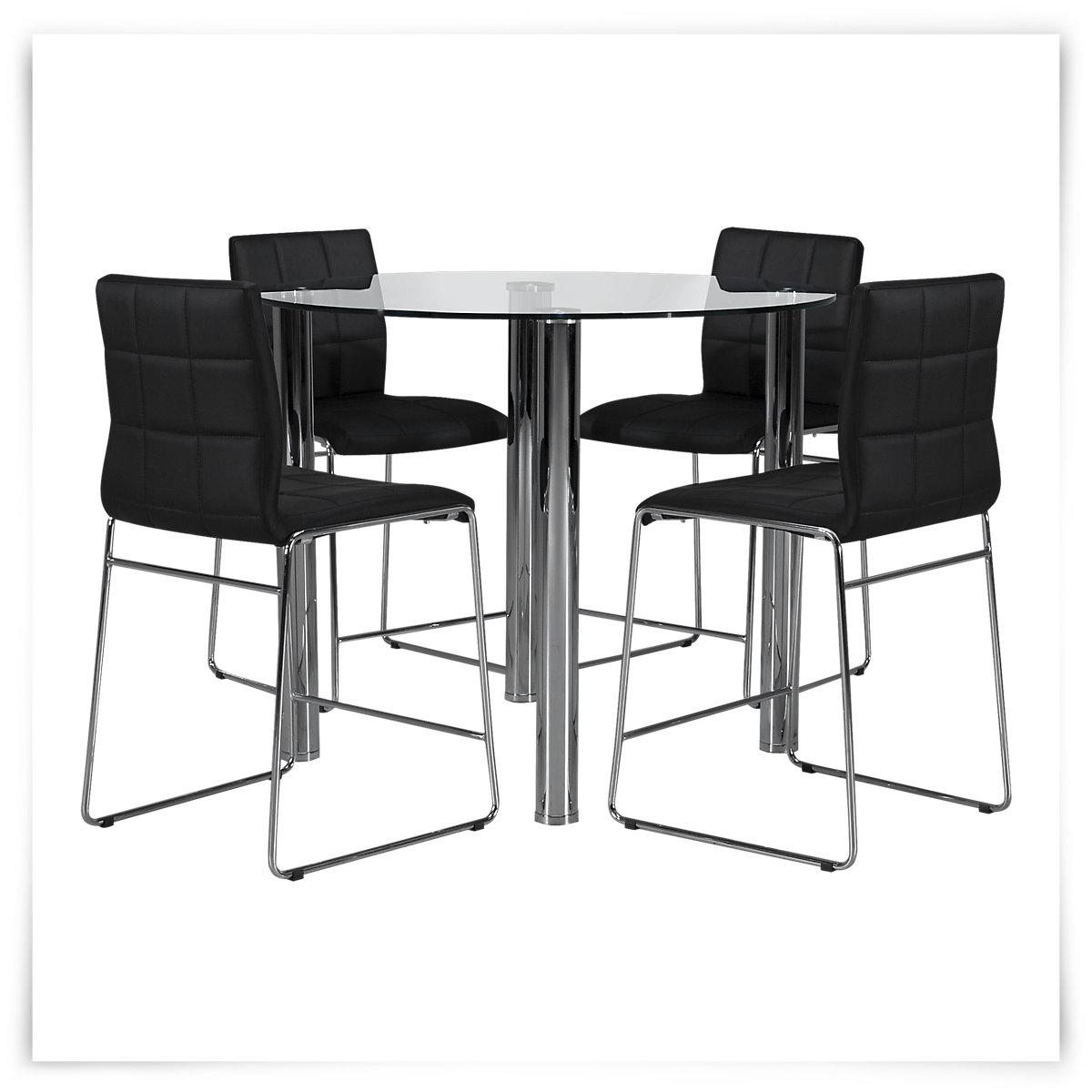 Napoli Black Round High Table amp 4 Upholstered Barstools