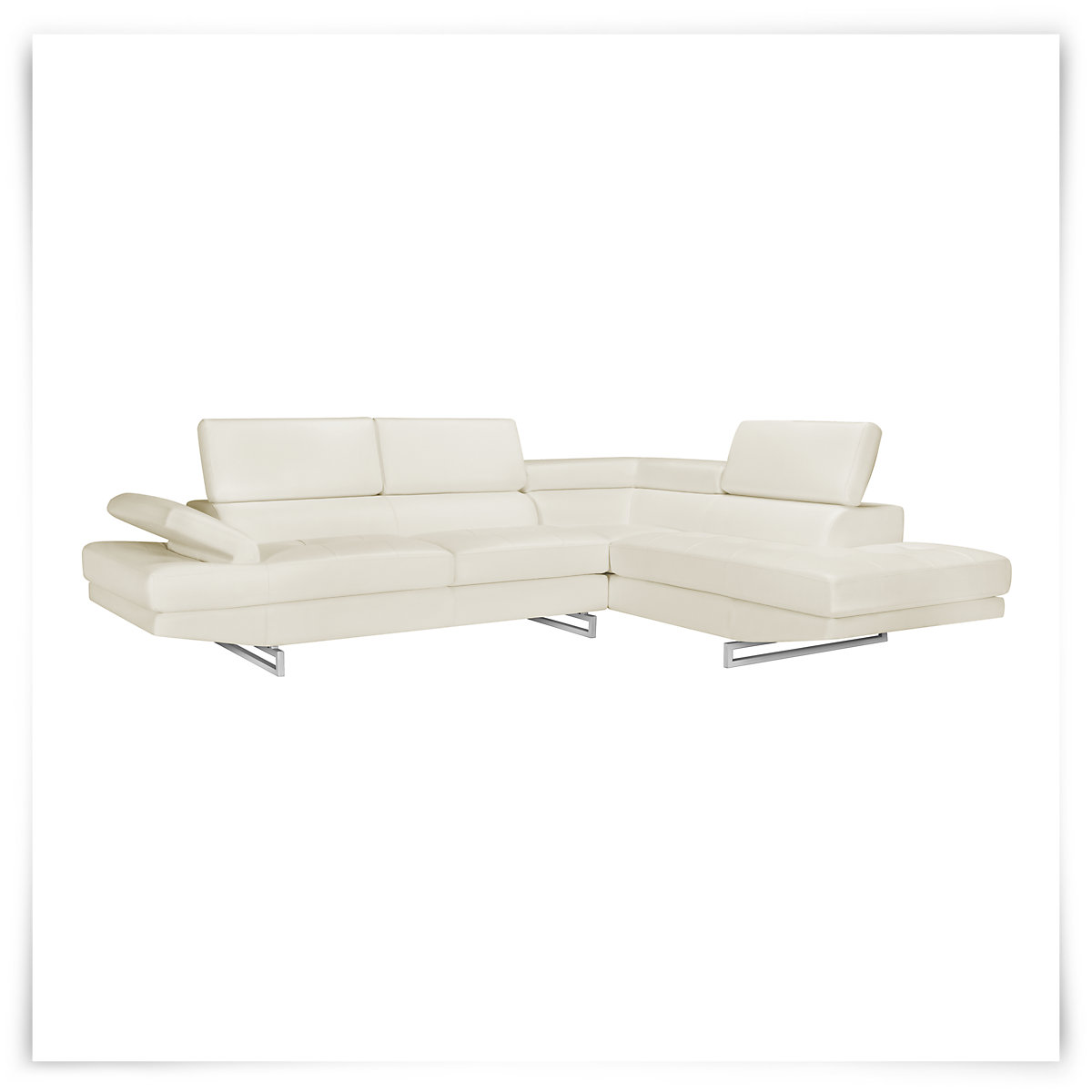 Athena White Bonded Leather Right Bumper Sectional