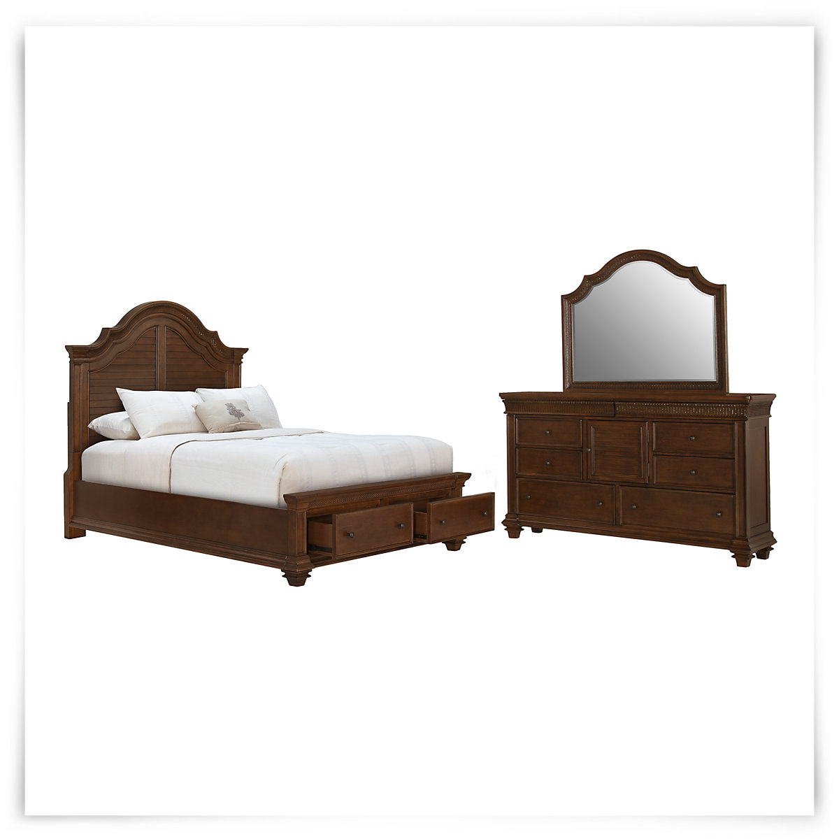 City furniture antigua mid tone panel storage bedroom for Antigua wicker chaise
