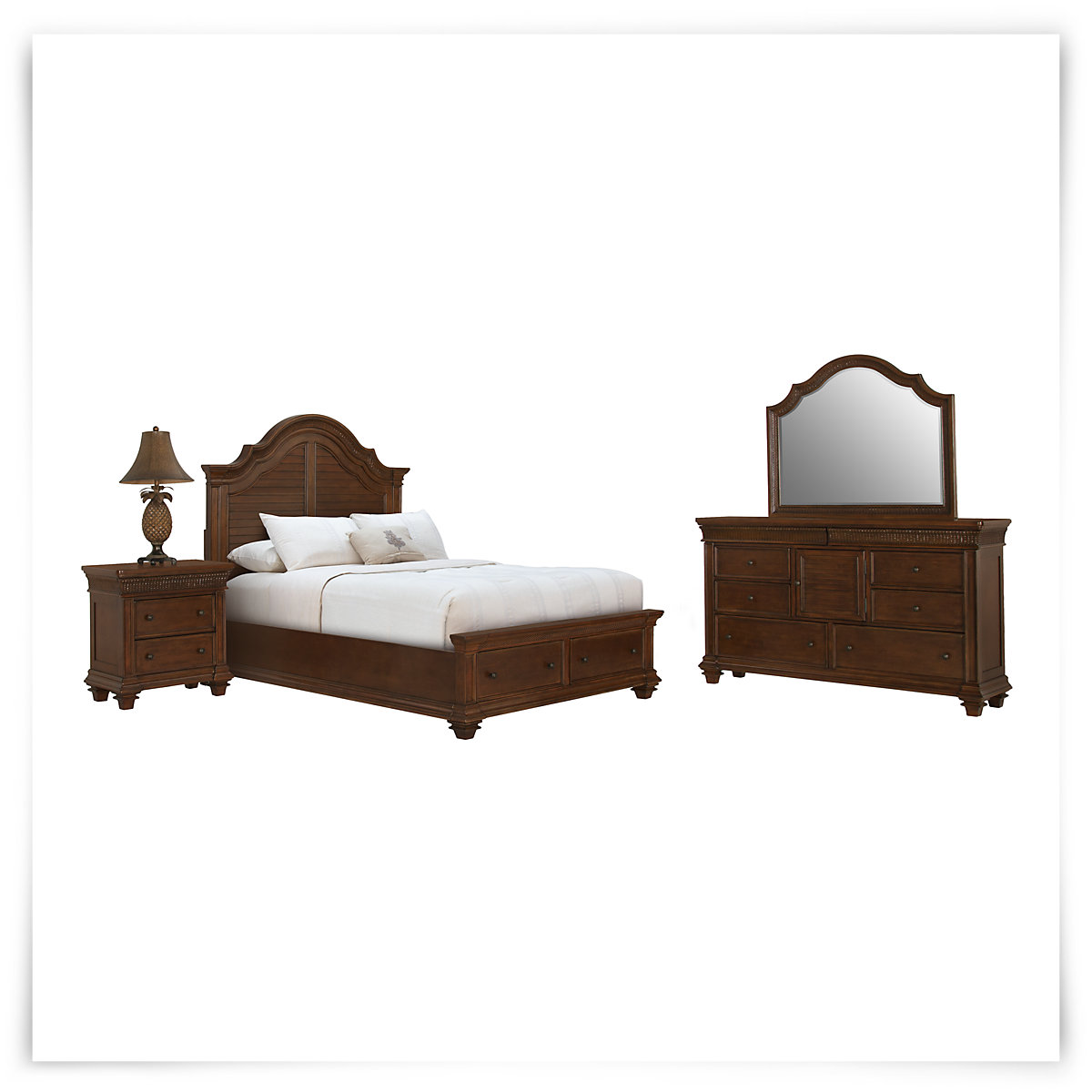 City furniture antigua mid tone panel storage bedroom for Antigua wicker chaise