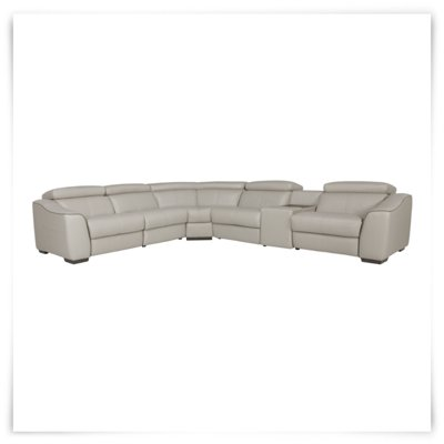 Lt Gray Leather  Vinyl Small Two-Arm Power Reclining Sectional