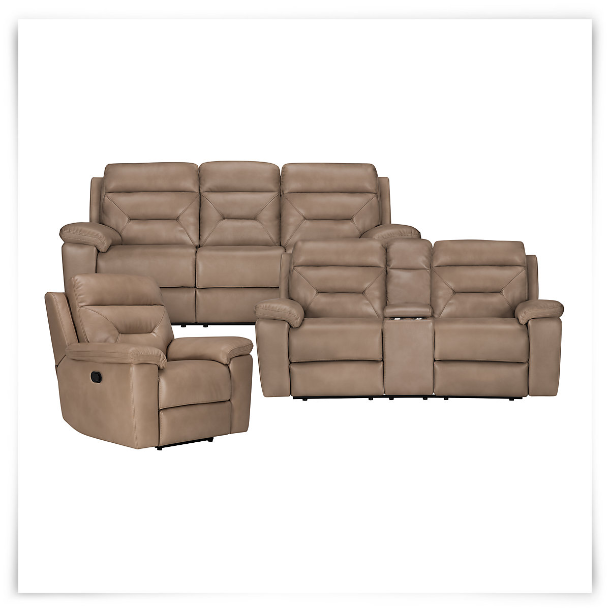 City Furniture Phoenix Dk Beige Microfiber Reclining Sofa