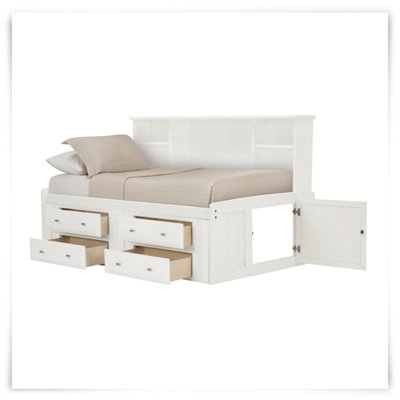 White Daybed With Bookcase: City Furniture: Laguna White Storage Bookcase Daybed