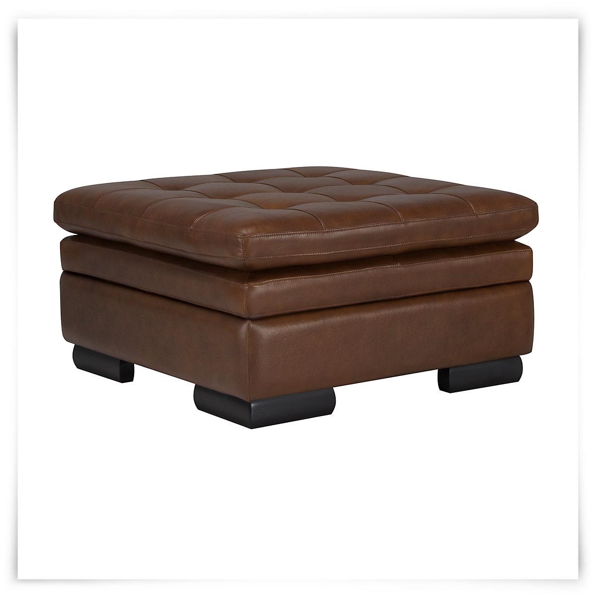 Trevor md brown leather storage ottoman