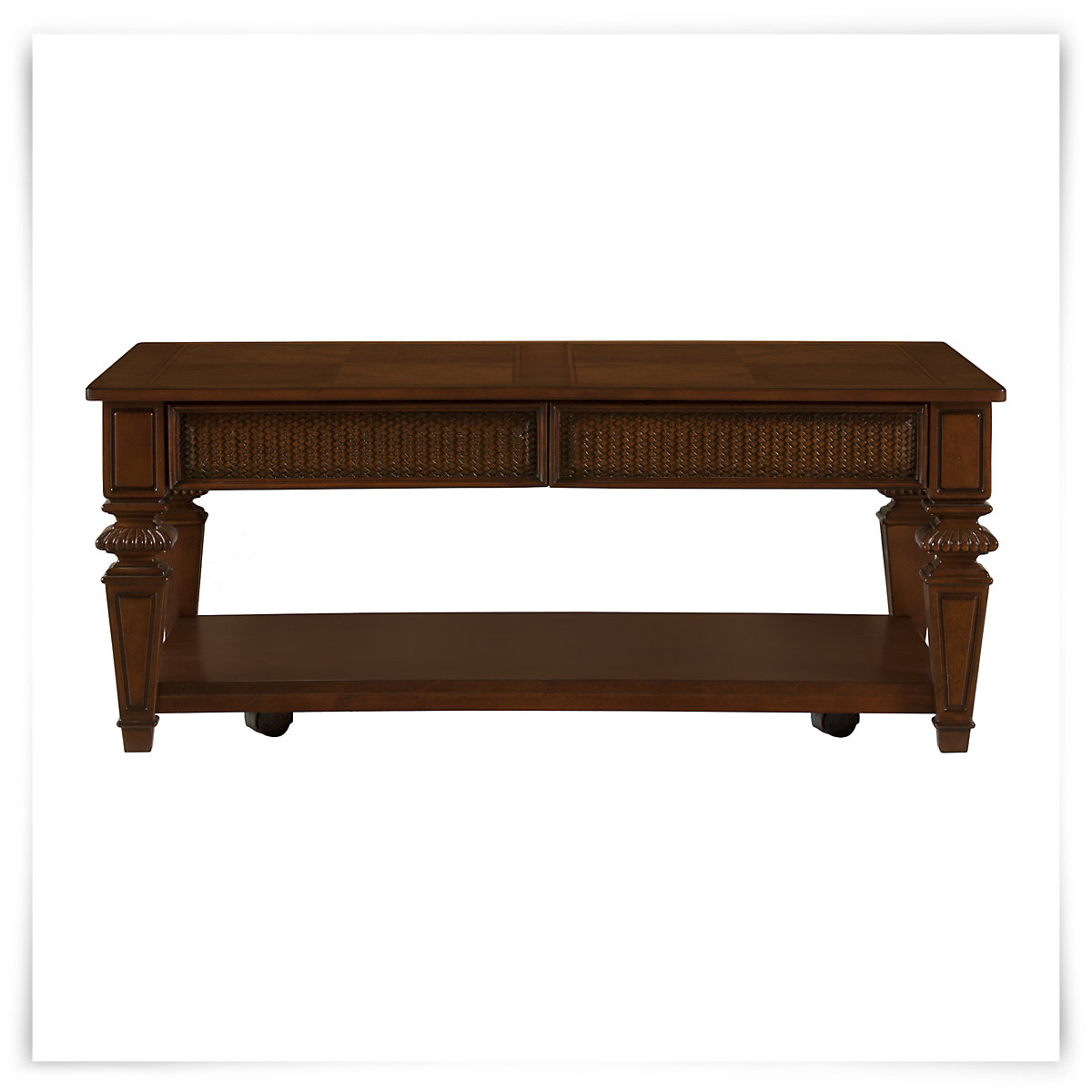 City furniture antigua mid tone rectangular coffee table for Antigua wicker chaise