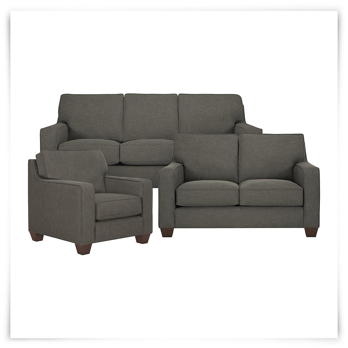 City Furniture York Dk Gray Fabric Loveseat