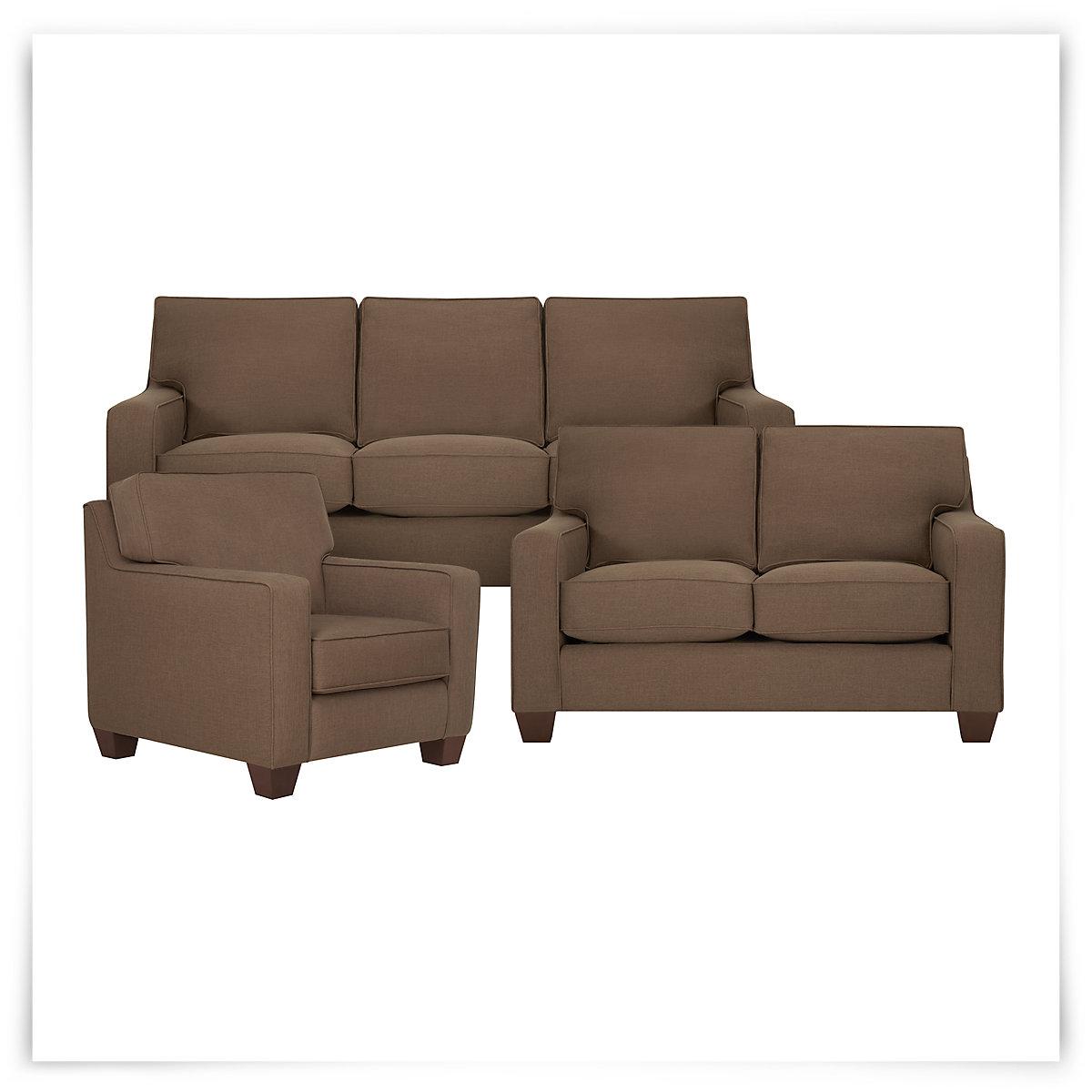 City Furniture York Dk Brown Fabric Loveseat