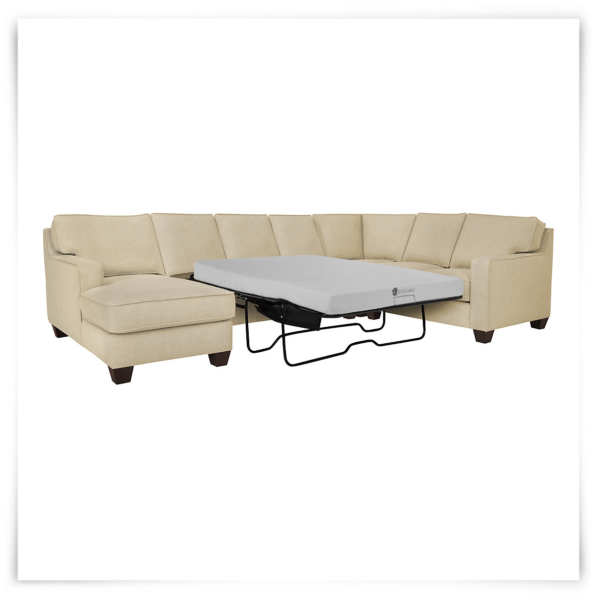 City furniture york beige fabric left chaise memory foam for Beige sectional with chaise