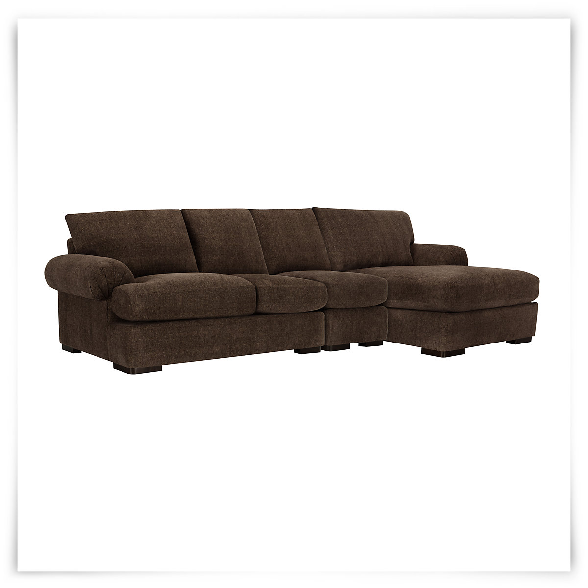 City furniture belair dk brown microfiber small right for Brown sectionals with chaise