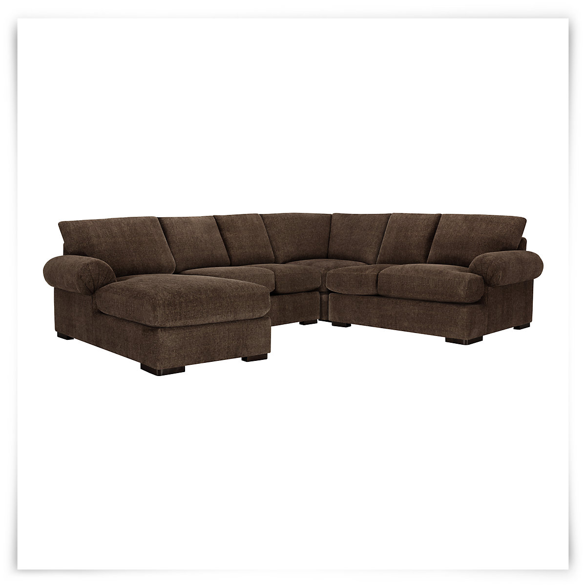 City furniture belair dk brown microfiber medium left for Brown microfiber sectional with chaise