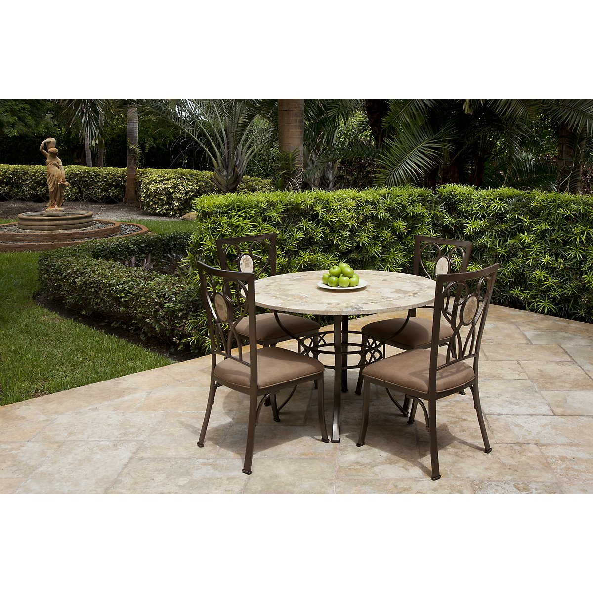 Brookside Round Stone Table Chairs - Coffee table with 4 chairs