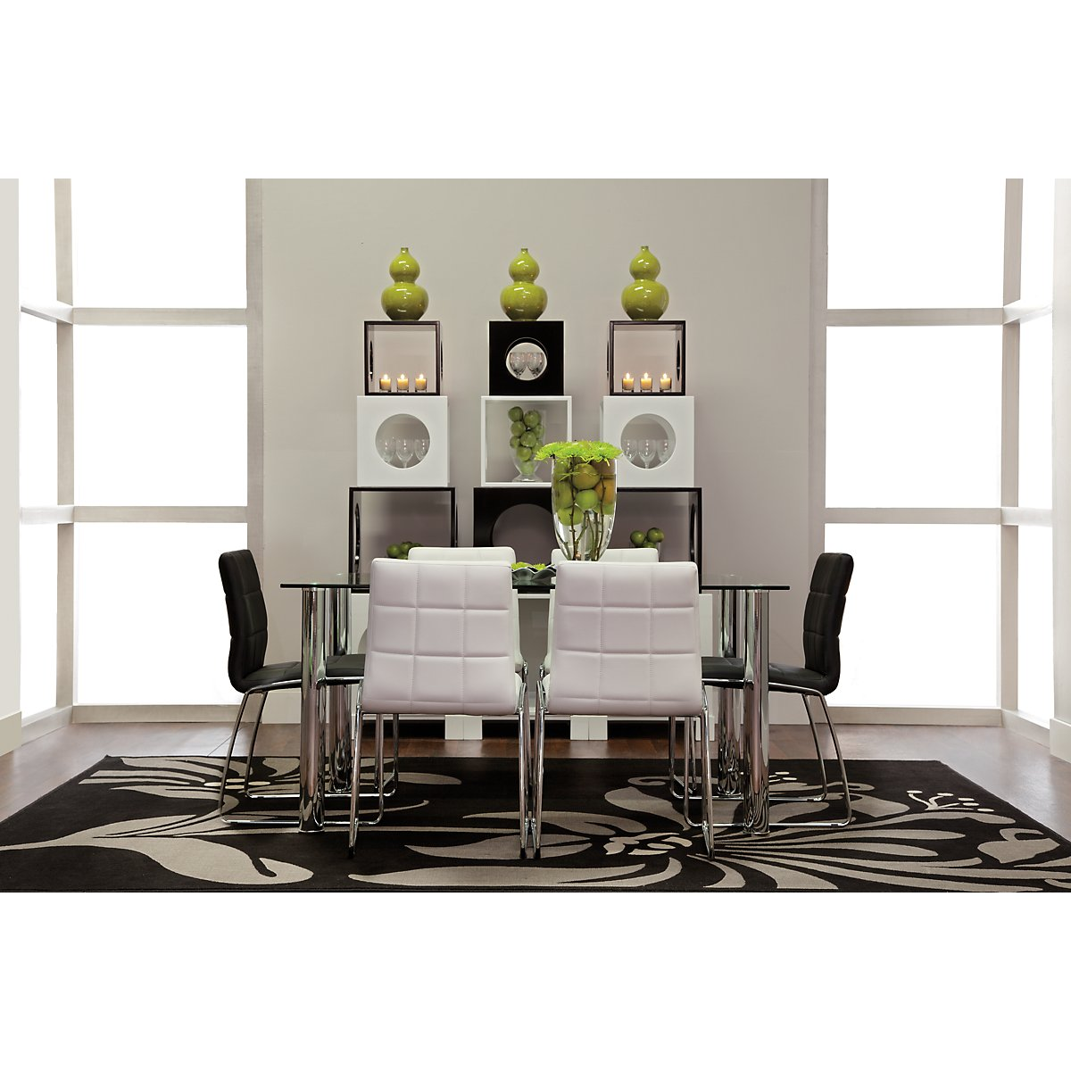 Napoli Black Rect Table & 4 Upholstered Chairs