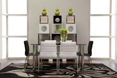 Napoli Black Rectangular Table U0026 4 Upholstered Chairs