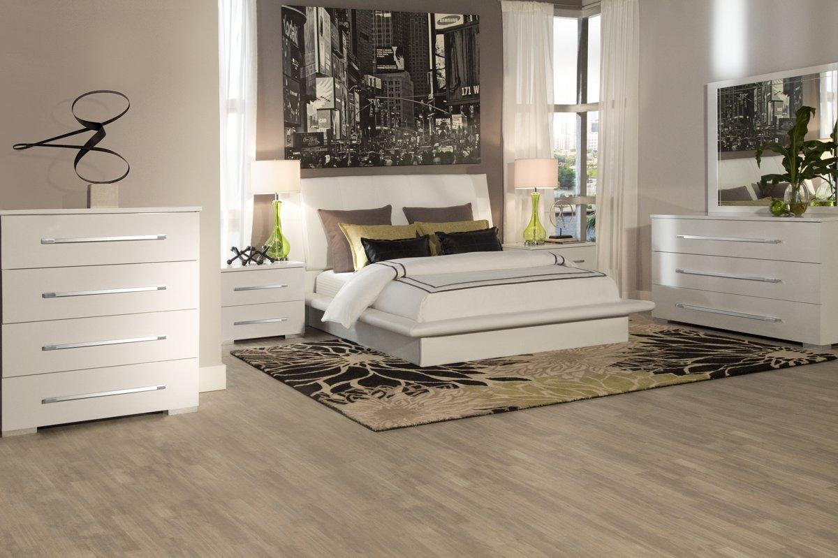 dimora white upholsterd platform bedroom