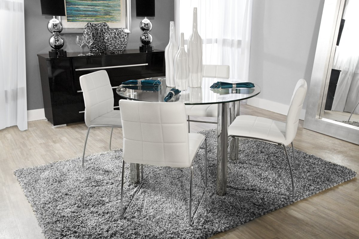 Furniture City Dining Room Suites: Napoli White Round Table & 4 Upholstered Chairs: Dining Room