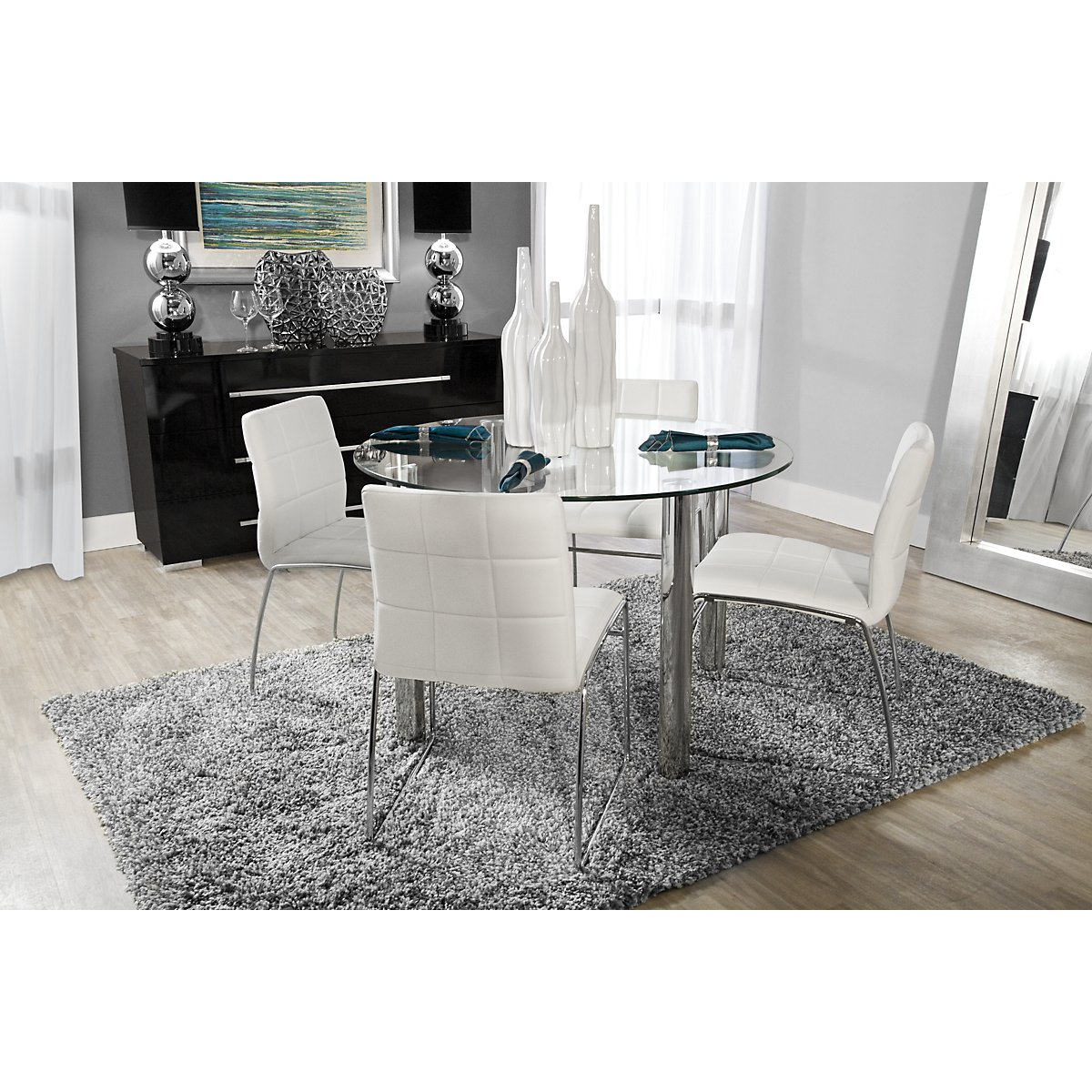 White Circle TableModern Black Round Dining Table For