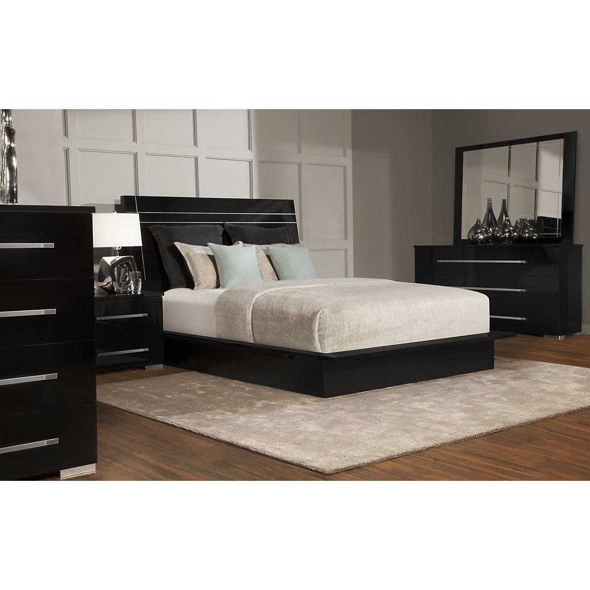 Dimora3 Black Wood Platform Bedroom