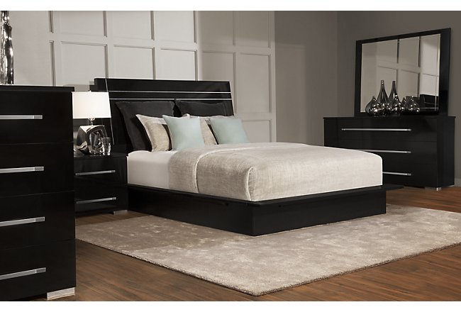 Dimora3 Black Wood Platform Bedroom