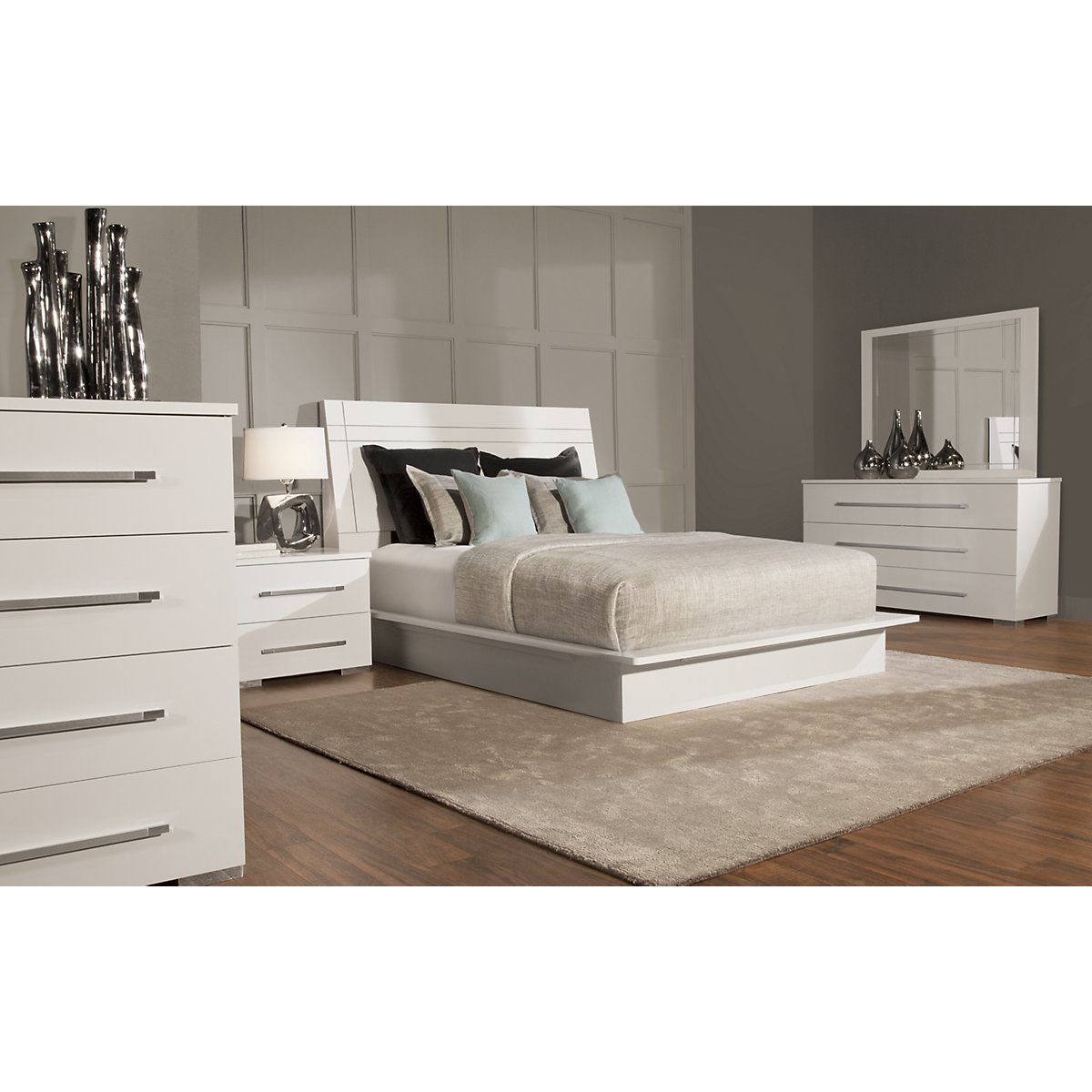 dimora3 white wood platform bedroom - Platform Bedroom Sets