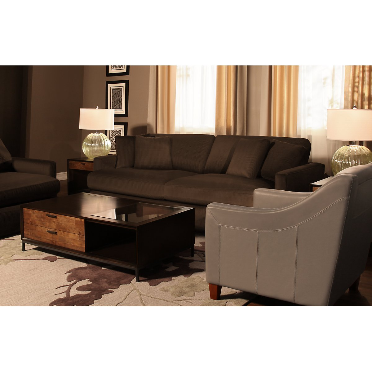 Tara2 Dark Brown Microfiber Sofa | Living Room - Sofas | City Furniture
