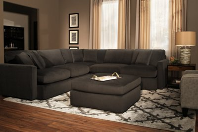 Tara2 Dark Gray Microfiber Small Two Arm Sectional