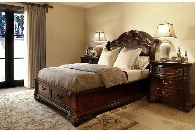 Regal Dark Tone Leather Platform Storage Bed | Bedroom
