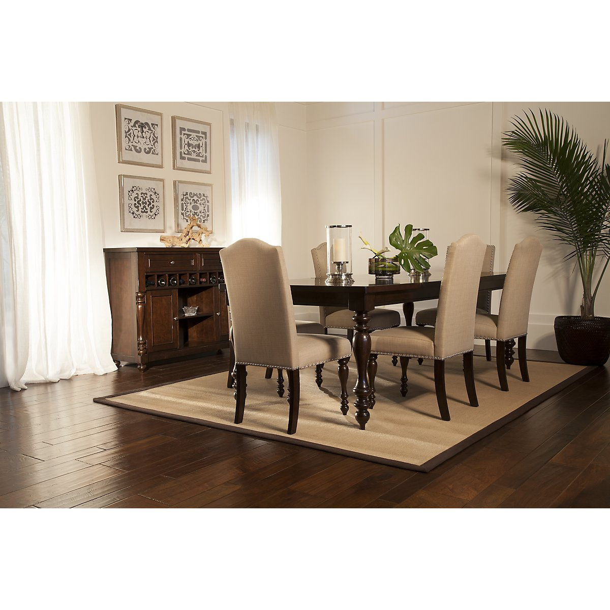 Mcgregor Dark Tone Rectangular Table 4 Upholstered Chairs