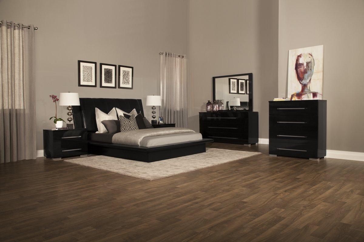 dimora black upholsterd platform bed