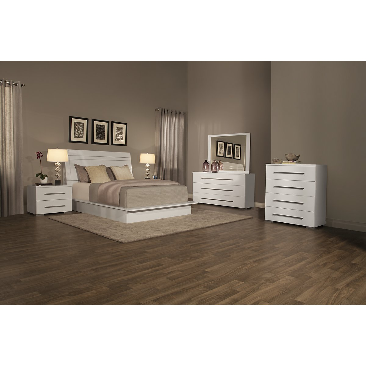 Dimora3 White Wood Platform Bed: Twin, Queen & King Beds
