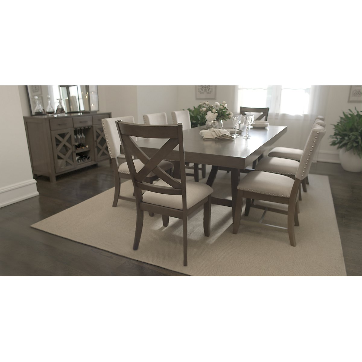City Furniture Omaha Gray Rectangular Table