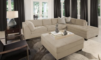 Mercer3 Light Taupe Microfiber Right Chaise Sectional  sc 1 st  City Furniture : sectionals microfiber - Sectionals, Sofas & Couches