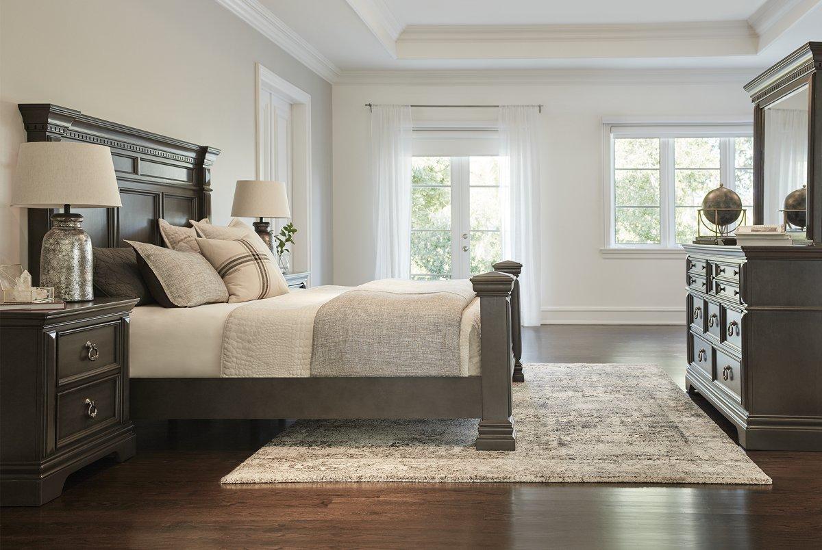 Emerson Dark Tone Wood Panel Bedroom