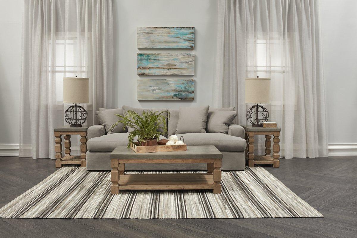 Delilah Gray Fabric Living Room