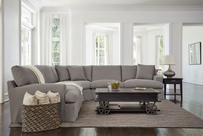High Quality Delilah Gray Fabric Large Two Arm Sectional