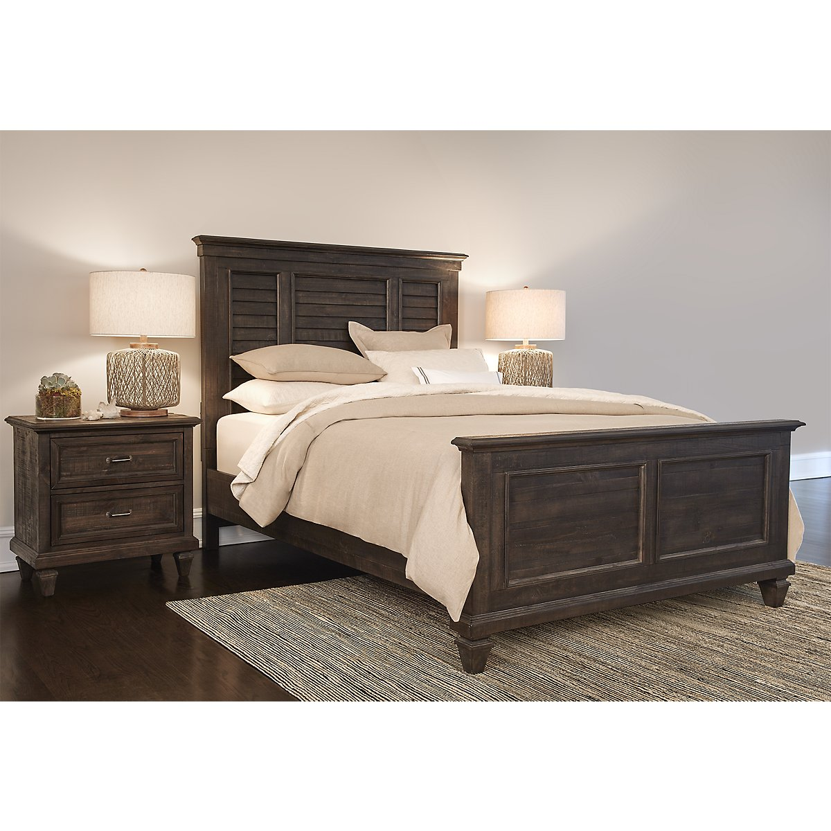 Sonoma Dark Tone Wood Panel Bed