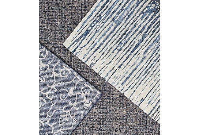 Lykon Blue Wool 8x10 Area Rug