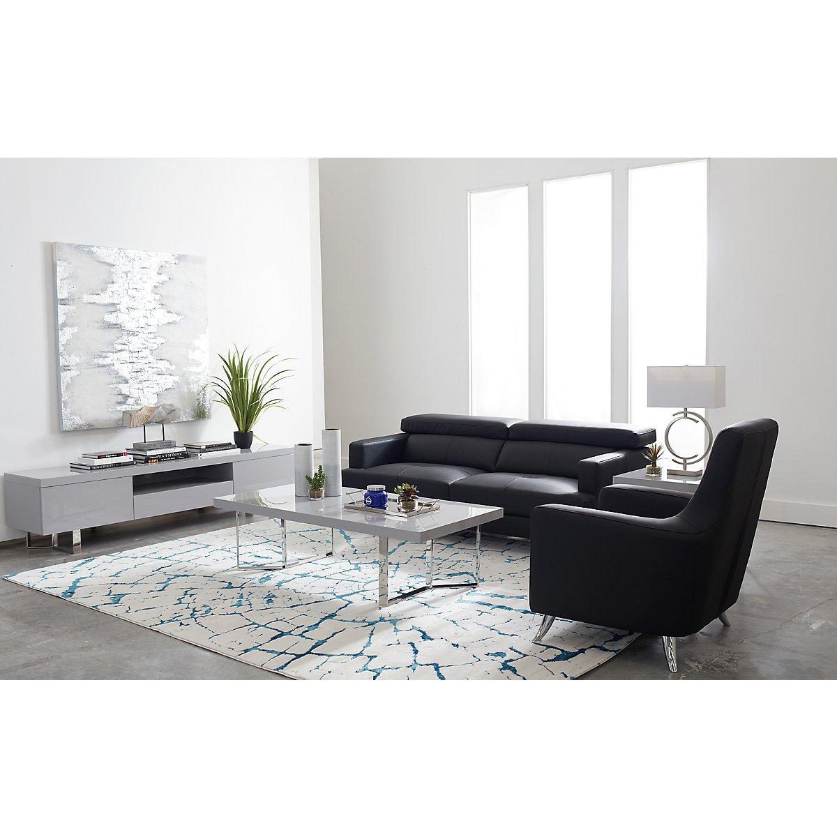 City Furniture: Marquez Black Microfiber 8-Piece Living Room Package
