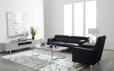 Beau Marquez Black Microfiber Sofa. VIEW LARGER
