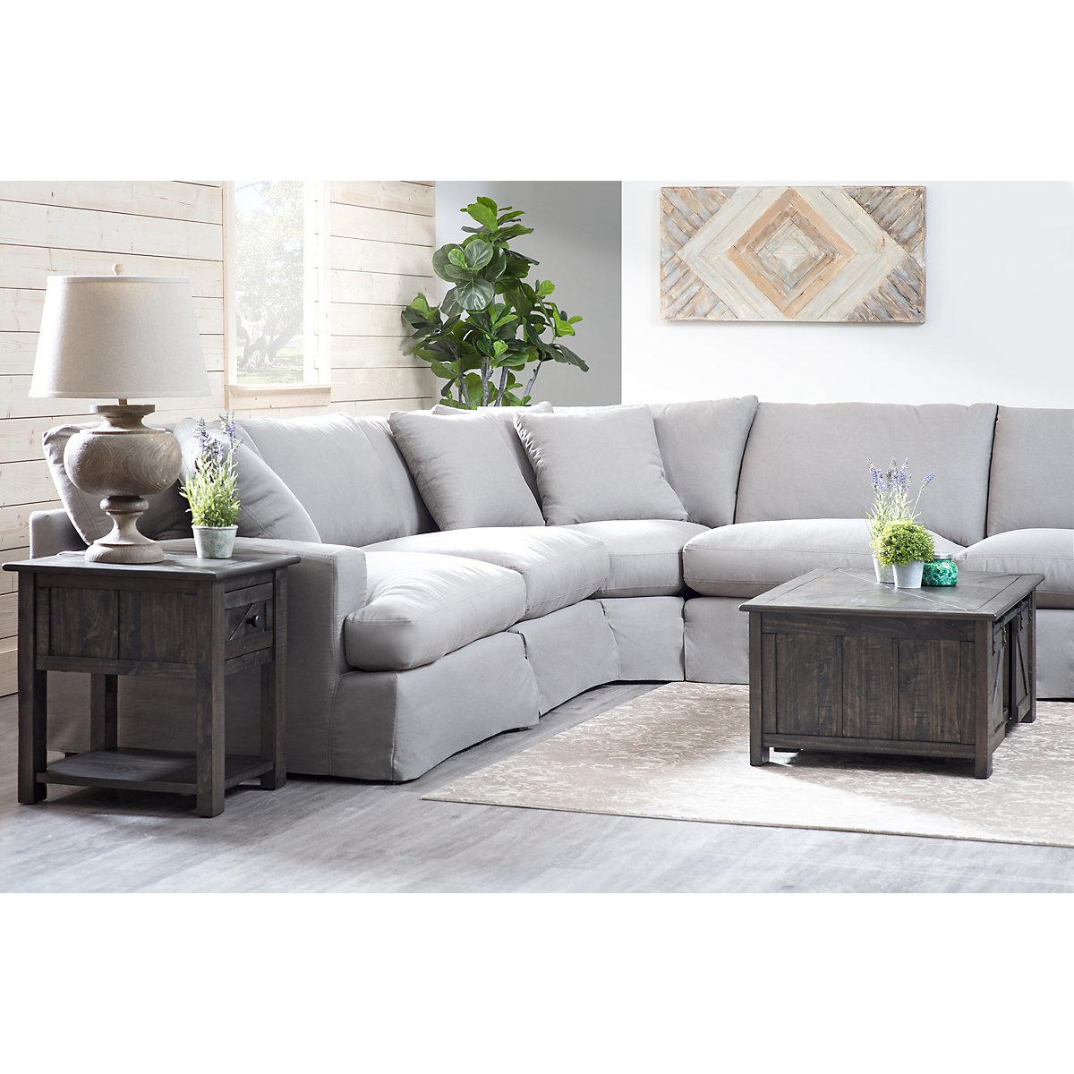 Delilah Gray Fabric Large Two-Arm Sectional