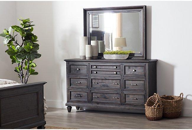 Sonoma Dark Tone Wood Dresser & Mirror