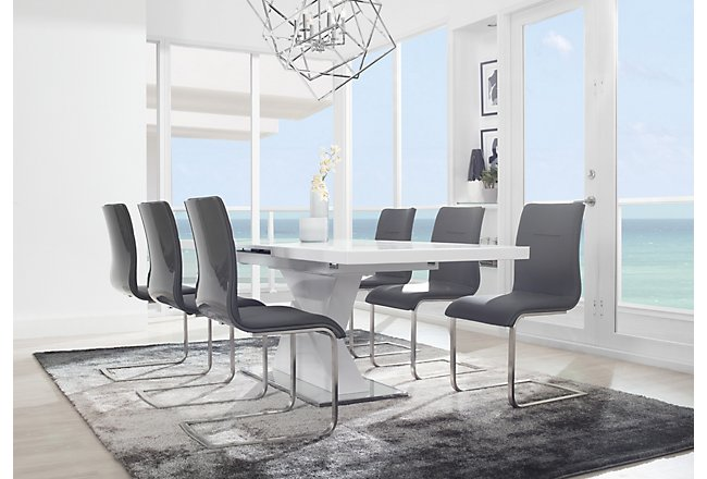 Drake Gray Rect Table & 4 Upholstered Chairs
