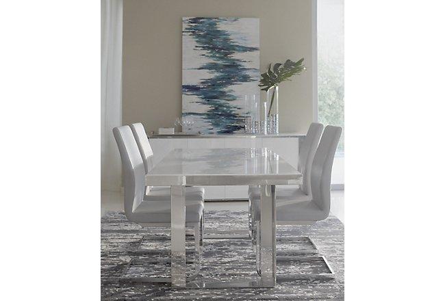 Harley White Glass Rectangular Table