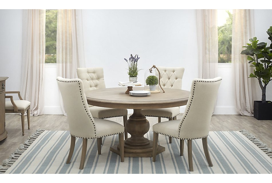 Haddie LIGHT TONE ROUND Table & 4 Upholstered Chairs ...