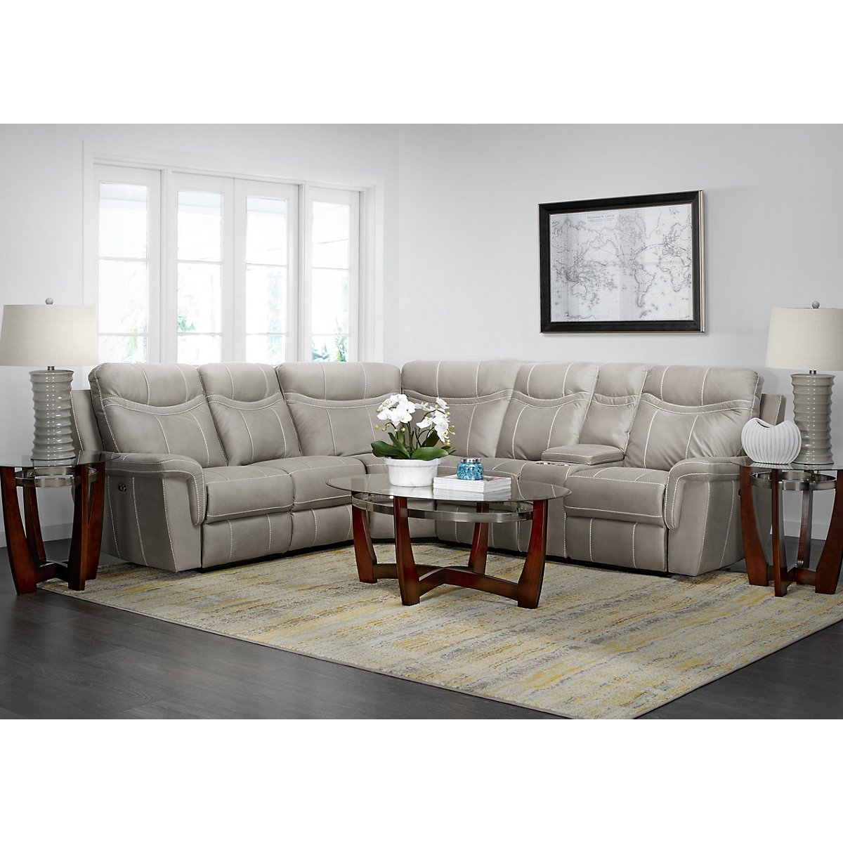 City Furniture: Boardwalk Pewter Microfiber Small Two-Arm Power ...