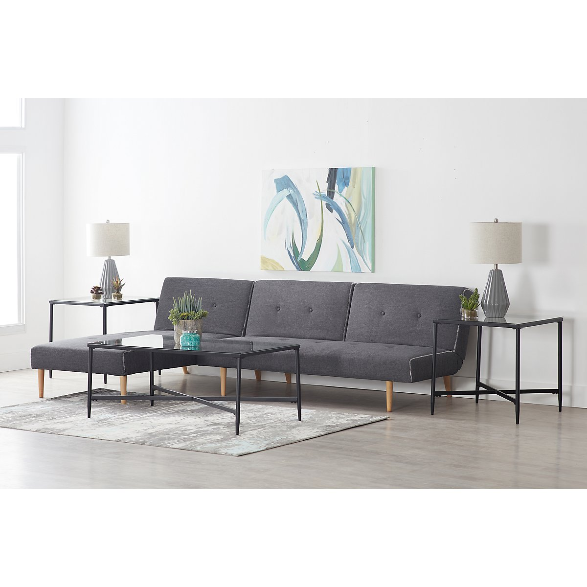 City Furniture: Ethan Dark Gray 7-Piece Living Room Package